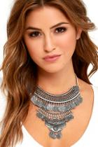 Lulu*s Past And Present Silver Statement Necklace