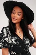 Aleenta Black Sequin Floppy Straw Hat | Lulus