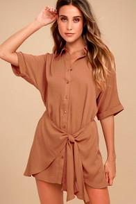 Lulus Go With The Flow Light Brown Shirt Dress