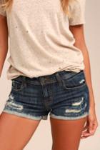 Eunina Lexi Dark Wash Distressed Denim Shorts | Lulus