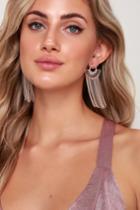 Real Radiance Rose Gold Rhinestone Tassel Earrings | Lulus