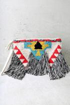 Lulus Best Of The Fest Black And Cream Fringe Clutch