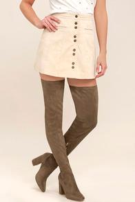 Cape Robbin Bellatrix Taupe Suede Thigh High Boots