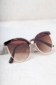 Lulus Song And Glance Tortoise And Brown Mirrored Cat-eye Sunglasses