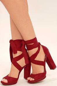 Lulus Dorian Dark Red Suede Lace-up Platform Heels