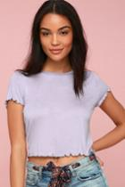 Pippin Lilac Lettuce Hem Cropped Tee | Lulus