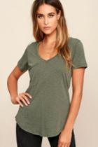 Z Supply | Pleasant Surprise Olive Green Tee | Size Large | Lulus