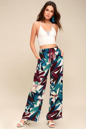 Nassau White Floral Print Wide-leg Pants | Lulus