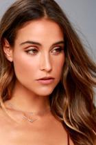 Lulus Life Story Silver Rhinestone Layered Necklace