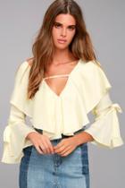 Lulus Fancy Flair Cream Long Sleeve Top