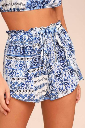 Still Life Blue Print Shorts   Lulus
