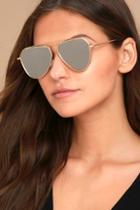 Yhf Los Angeles Chloe Matte Gold And Silver Mirrored Sunglasses