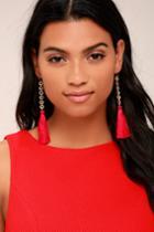 Vanessa Mooney | Isla Red Silk Tassel Earrings | Lulus