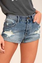 Amuse Society Crossroads Blue Distressed Denim Shorts   Lulus