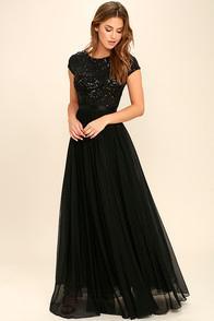 Glamazon L'amour Black Sequin Maxi Dress