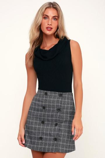 Count On Me Charcoal Grey Plaid Button-up Mini Skirt | Lulus