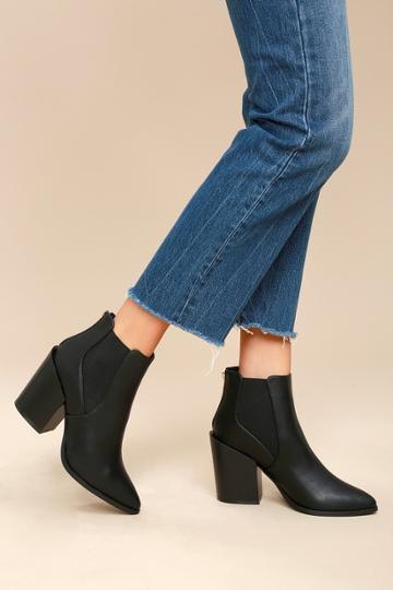 So Me Novalie Black Pointed Toe Ankle Booties | Lulus