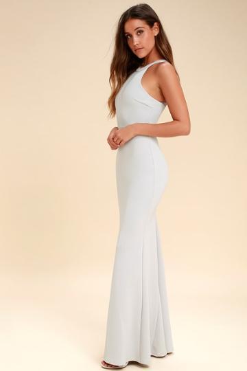Joella Light Grey Lace Halter Maxi Dress   Lulus
