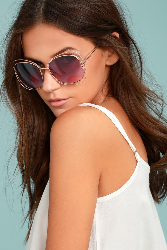 Lulus | The Keys Gold And Pink Sunglasses