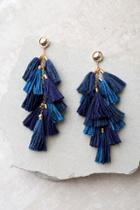Ettika Time To Tassel Gold And Navy Blue Tassel Earrings