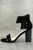 Liliana Parvati Black Suede Ankle Strap Heels