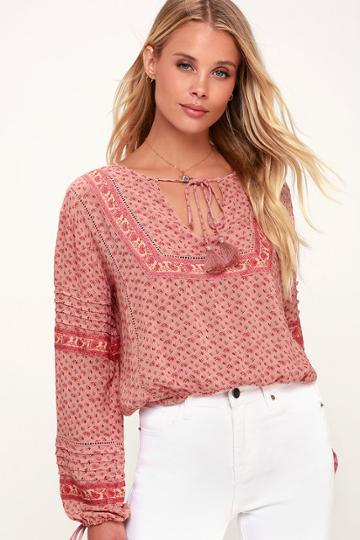 Amuse Society Lakefront Blush Floral Print Long Sleeve Top | Lulus