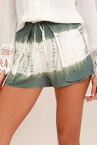 Lulus Let's Explore Sage Green Tie-dye Shorts