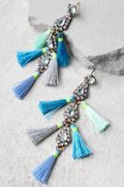 Lulus Crystal Memories Blue Rhinestone Tassel Earrings