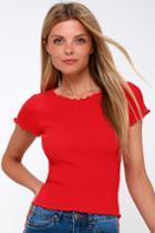 Rachael Red Knit Lettuce Hem Tee | Lulus