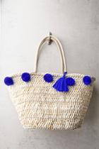 Lulus Byron Bay Beige And Blue Woven Pompom Tote