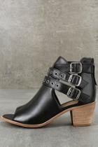Matisse Princeton Black Leather Peep-toe Booties