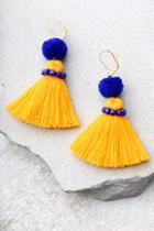 Shashi Pom Blue And Yellow Tassel Earrings
