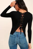 Lulus Aced It Black Lace-up Top
