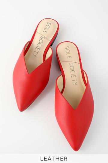 Sole Society Rosemond Red Leather Pointed Toe Mules | Lulus