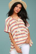 Lulus | At Sunset Cream Striped Poncho Top | Size Large | Beige | 100% Cotton