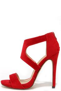 Liliana Twirl-wind Red Suede Dress Sandals