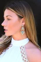 Color Me Rococo Gold And Turquoise Rhinestone Earrings | Lulus