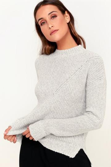Olive + Oak Pine Grey Knit Sweater   Lulus
