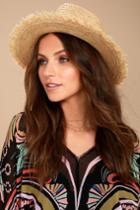 Lulus | Bae Harbor Straw Fedora Hat | Beige