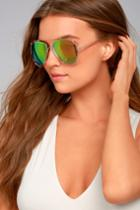 Lulus | Hot Springs Gold And Pink Mirrored Aviator Sunglasses