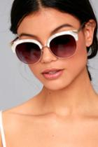 Lulus | Romantic Reason Gold And White Sunglasses
