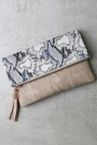 Lulus Wink And Kiss Beige Clutch