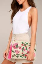 Lulus Abloom Light Beige Embroidered Clutch