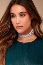 Lulus Lionized Silver Rhinestone Layered Choker Necklace