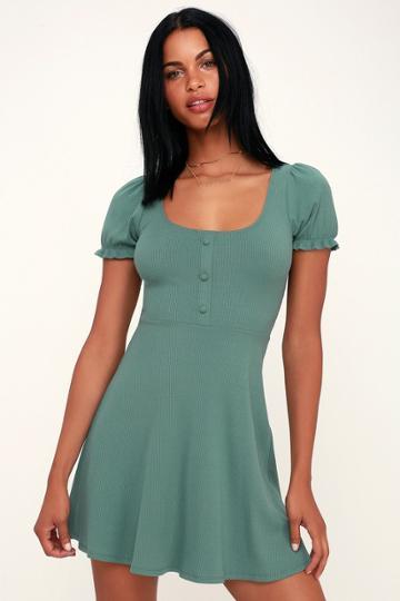 Hopscotch Sage Green Ribbed Short Sleeve Skater Dress | Lulus