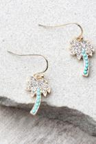 Lulus | Palms Of Paradise Blue And Gold Rhinestone Earrings