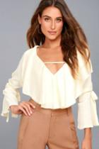 Lulus | Fancy Flair Cream Long Sleeve Top | Size Small | White