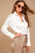 Lulus Sheen On Me White Satin Button-up Top