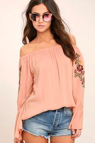 Lulus Piece Of Me Blush Pink Embroidered Off-the-shoulder Top