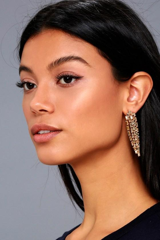 Lulus | Sweet And Shimmer Rose Gold Rhinestone Earrings
